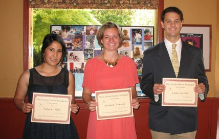 The recipients of this year's Caroline Huetter Award. From Left to Right: Victoria Villa, Madison Womack, or Cameron Holt.